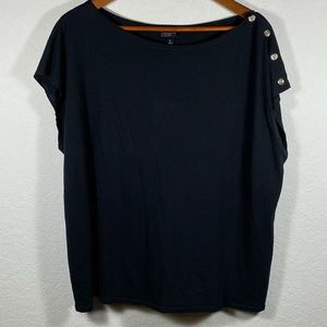 Talbots Woman Black Top with Button Detail